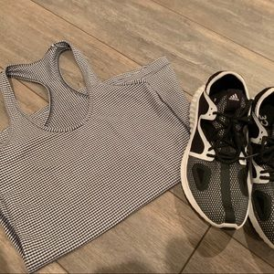 LULULEMON BLACK AND WHITE CHECKERED TANK TOP